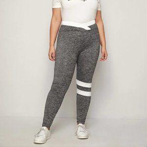 Pants - Shein Charcoal Grey Overlap Waist Striped Legging